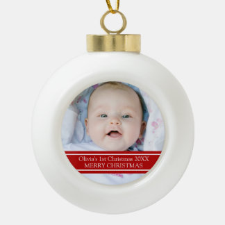 1r ornamento del navidad del bebé de encargo de la adorno de cerámica en forma de bola