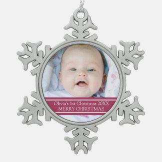 1r ornamento del navidad del bebé de encargo de la adorno de peltre en forma de copo de nieve