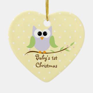 1r ornamento del navidad del bebé lindo del búho ornatos
