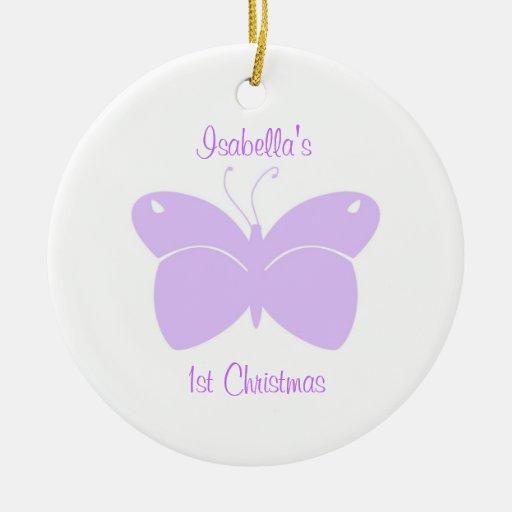 1r ornamento del navidad del bebé púrpura de la adorno navideño redondo de cerámica