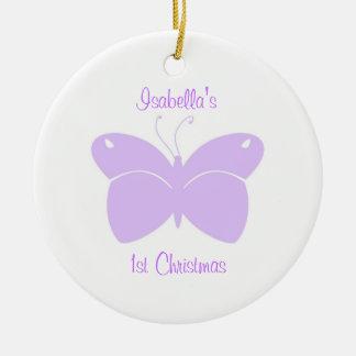 1r ornamento del navidad del bebé púrpura de la ma ornamentos de navidad