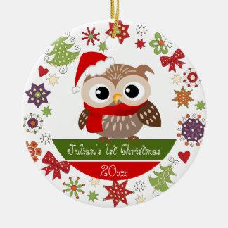 1r ornamento del navidad del búho feliz adorno navideño redondo de cerámica