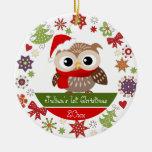 1r ornamento del navidad del búho feliz adorno redondo de cerámica