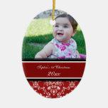 1r ornamento del navidad del damasco del bebé rojo adorno para reyes