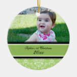1r ornamento del navidad del damasco del bebé verd adornos de navidad