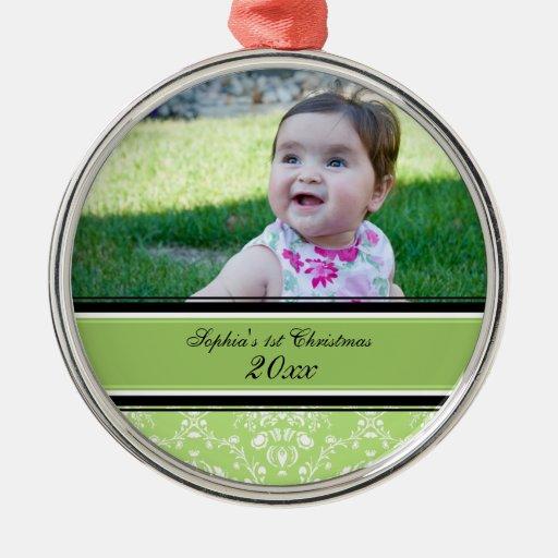 1r ornamento del navidad del damasco del bebé verd ornamentos para reyes magos