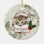 1r ornamento del navidad del gatito adornos