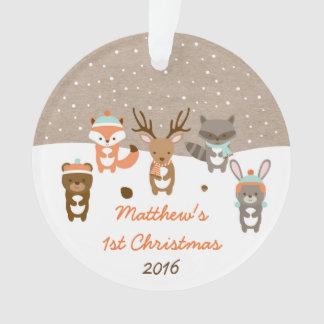 1r ornamento del navidad del invierno del animal