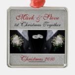 1r ornamento del navidad del matrimonio homosexual adorno para reyes