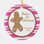 1r ornamento del navidad del pan de jengibre rosad adorno para reyes