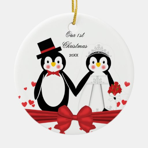 1r ornamento del navidad del pingüino del boda ornamentos de navidad