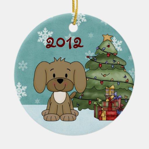1r ornamento del perro del navidad del bebé adorno redondo de cerámica