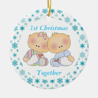 1r ornamento del recuerdo del navidad de los gemel adorno de navidad