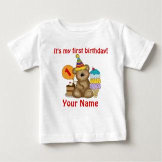 1r Oso del cumpleaños Playera Para Bebé