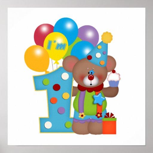 1r Oso del payaso del cumpleaños Posters