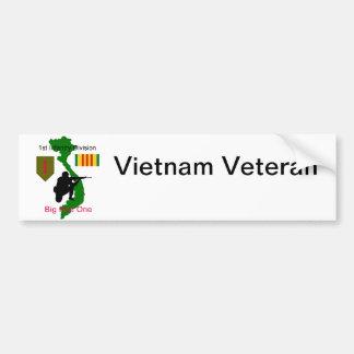 1r Palillo del parachoque del veterano de Vietnam  Pegatina De Parachoque
