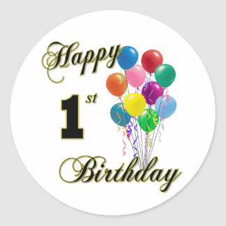 1r pegatina feliz del cumpleaños
