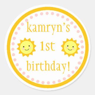 1r pegatina personalizado del cumpleaños de la sol