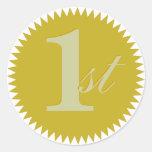 1r Pegatinas del sello de oro del primer premio