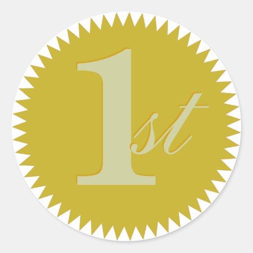 1r Pegatinas del sello de oro del primer premio Pegatina Redonda