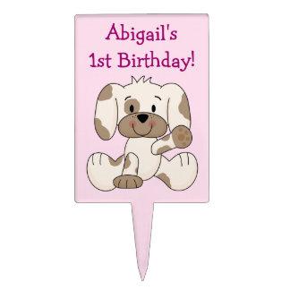 1r perro de perrito personalizado del cumpleaños figuras de tarta