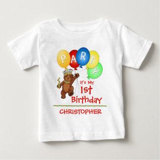 1r personalizado de la fiesta de cumpleaños del playera de bebé