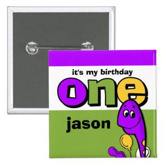 1r personalizado del cumpleaños del dinosaurio púr pin cuadrado