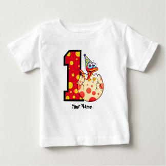 1r Personalizado del huevo de Dino del cumpleaños Remeras