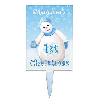 1r Personalizado lindo del muñeco de nieve del Palillos De Tarta