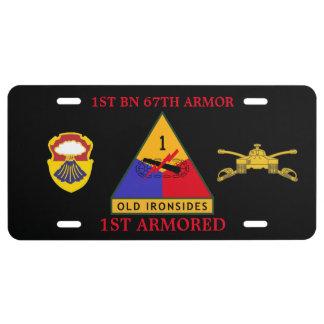 1r PLACA ACORAZADA de la ARMADURA de los BN 67.os Placa De Matrícula
