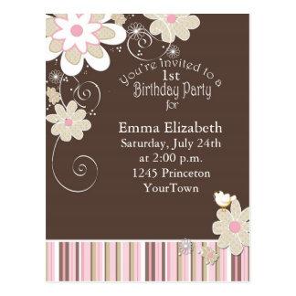 1r Postal de la fiesta de cumpleaños para el chica