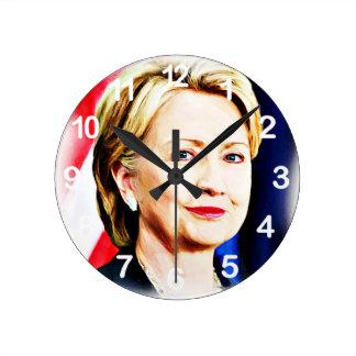 1r Presidente Hillary Clinton 2016_ de la mujer Reloj Redondo Mediano