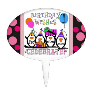 1r primero de la torta de cumpleaños del pingüino decoración para tarta