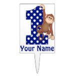 1r Primero personalizado azul de la torta del mono Figura De Tarta