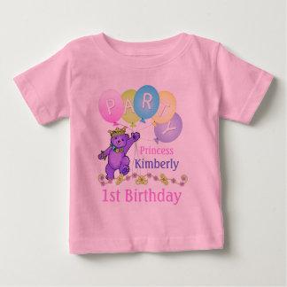 1r Princesa Bear de la fiesta de cumpleaños Playera De Bebé