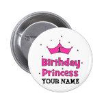 1r ¡Princesa del cumpleaños!  con la corona rosada Pins