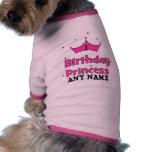 1r ¡Princesa del cumpleaños!  con la corona rosada Ropa Perro