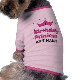 1r ¡Princesa del cumpleaños!  con la corona rosada Ropa De Mascota