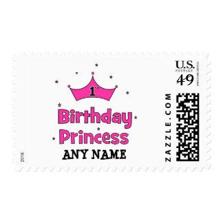 1r ¡Princesa del cumpleaños!  con la corona rosada Sello
