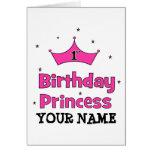 1r ¡Princesa del cumpleaños!  con la corona rosada Tarjeta