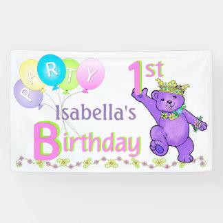 1r Princesa feliz Bear de la fiesta de cumpleaños Lona