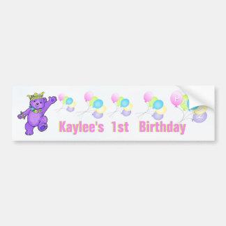 1r Princesa púrpura Bear de la fiesta de cumpleaño Etiqueta De Parachoque