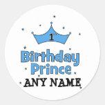 1r Príncipe del cumpleaños Pegatinas Redondas