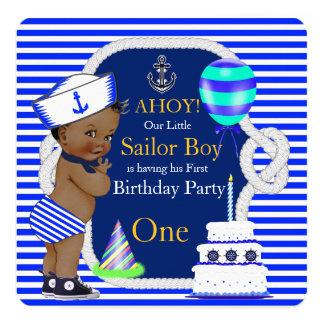 """1r Raya de azules marinos del muchacho de marinero Invitación 5.25"""" X 5.25"""""""