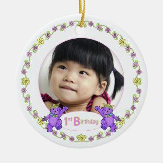 1r recuerdo de la foto del cumpleaños de princesa  ornamento para arbol de navidad