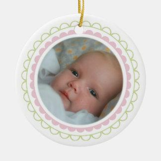 1r recuerdo del ornamento de la foto del navidad adorno navideño redondo de cerámica