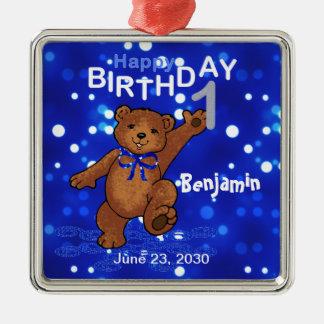 1r Recuerdo del oso de peluche del cumpleaños Adorno Navideño Cuadrado De Metal