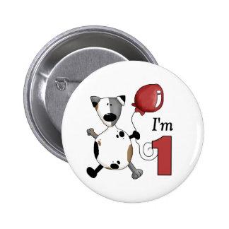 1r Regalo de cumpleaños del perrito del cumpleaños Pin