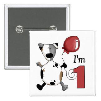1r Regalo de cumpleaños del perrito del cumpleaños Pins