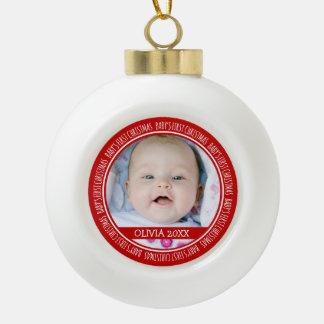 1r rojo del ornamento del navidad del bebé adorno de cerámica en forma de bola